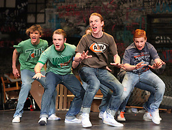 February 27 2011: &quot;The Jets Song,&quot; the Jets led by Action, Kaleb Straley, opens the show. The play West Side Story runs March 3-5 at 7:30 p.m. and a 2 p.m. matinee on March 6.<br /> <br /> TOP CAT IN TOWN While singing Logan Lehosit, Troy Hollandsworth, Kaleb Straley, and Nico DelGreco tell why the JETS are the best during Bridgeport High School's production of West Side Story.