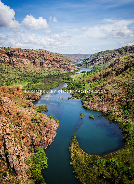 Wet season aerial view of the Lower Ord River in the East Kimberley.
