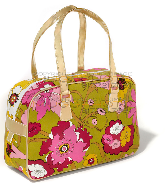 gold handled flowered leather handbag