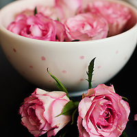 A bowl with seven pink rose heads floating in water displayed on a table Viewed from side