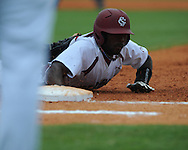 South Carolina's Jackie Bradley Jr. is picked off first during the Southeastern Conference tournament at Regions Park in Hoover, Ala. on Wednesday, May 26, 2010. Ole Miss won 3-0.