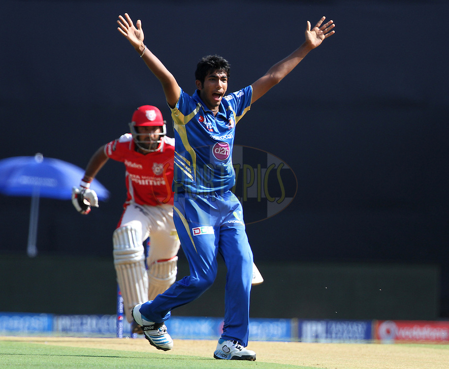 Jasprit Bumrah of the Mumbai Indians appeals unsuccessfully during match 22 of the Pepsi Indian Premier League Season 2014 between the Mumbai Indians and the Kings XI Punjab held at the Wankhede Cricket Stadium, Mumbai, India on the 3rd May  2014<br /> <br /> Photo by Vipin Pawar / IPL / SPORTZPICS<br /> <br /> <br /> <br /> Image use subject to terms and conditions which can be found here:  http://sportzpics.photoshelter.com/gallery/Pepsi-IPL-Image-terms-and-conditions/G00004VW1IVJ.gB0/C0000TScjhBM6ikg