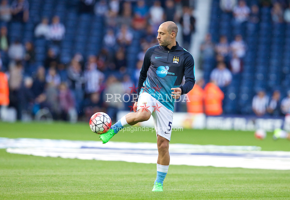 WEST BROMWICH, ENGLAND - Monday, August 10, 2015: Manchester City's Pablo Zabaleta warms-up before the Premier League match against West Bromwich Albion at the Hawthorns. (Pic by David Rawcliffe/Propaganda)