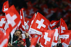 November 12, 2017 - Basel, Switzerland - Switzerland supporters  during the FIFA 2018 World Cup Qualifier Play-Off: Second Leg between Switzerland and Northern Ireland at St. Jakob-Park on November 12, 2017 in Basel, Basel-Stadt. (Credit Image: © Matteo Ciambelli/NurPhoto via ZUMA Press)