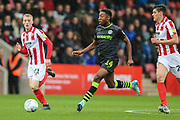 Forest Green Rovers Ebou Adams(14) passes the ball forward during the EFL Sky Bet League 2 match between Cheltenham Town and Forest Green Rovers at Jonny Rocks Stadium, Cheltenham, England on 2 November 2019.