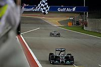 arrivee _ finish line HAMILTON Lewis (Gbr) Mercedes Gp Mgp W05 Action ROSBERG Nico (Ger) Mercedes Gp Mgp W05 Action during the 2014 Formula One World Championship, Grand Prix of Bahrain on April 6, 2014 in Sakhir, Bahrain. Photo Eric Vargiolu / DPPI