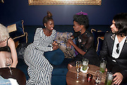 NASRIN JEAN-BAPTISTE; SHINGAI SHONIWA ( NOISETTES;   DSquared2 Launch of their Classic collection. Tramp. Jermyn St. London. 29 June 2011. <br /> <br />  , -DO NOT ARCHIVE-© Copyright Photograph by Dafydd Jones. 248 Clapham Rd. London SW9 0PZ. Tel 0207 820 0771. www.dafjones.com.
