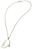 headphones silver necklace
