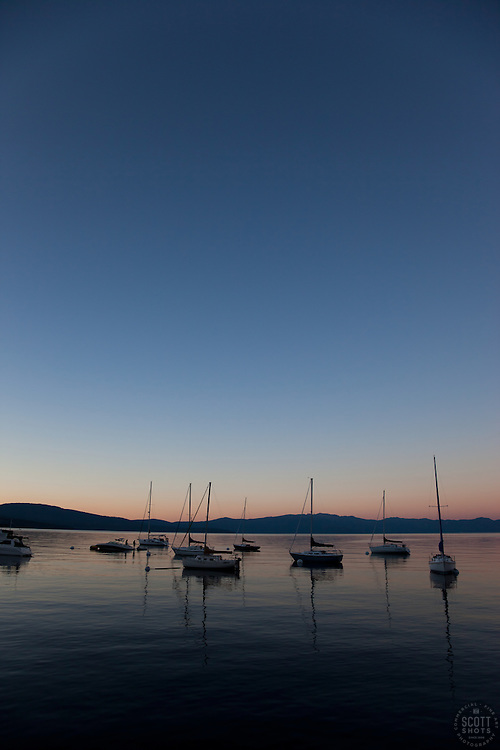 """""""Boats on Lake Tahoe 2"""" - These boats were photographed at sunset from the West shore of Lake Tahoe, California."""