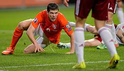 16-11-2014 NED: EK Kwalificatie Nederland - Letland, Amsterdam<br /> Nederland wint in de Arena met 6-0 van Letland / Klaas-Jan Huntelaar scoort de 3-0