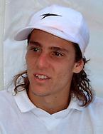 Sport,Tennis,Mercedes Cup,<br /> Internationales Weissenhof Turnier,Stuttgart, Gaston Gaudio (ARG),Pressekonferenz,<br /> Portraet,weisse Kappe,<br /> Halbkoerper,Portrait,