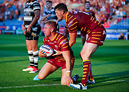 Aaron Murphy of Huddersfield Giants celebrates scoring the try with team mate Lee Gaskell (R) against  Hull FC during the Betfred Super League match at the John Smiths Stadium, Huddersfield<br /> Picture by Stephen Gaunt/Focus Images Ltd +447904 833202<br /> 05/07/2018