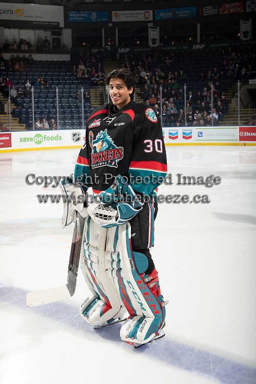KELOWNA, CANADA - NOVEMBER 23: Roman Basran #30 of the Kelowna Rockets stands on the blue line at the start of the game against the Victoria Royals  on November 23, 2018 at Prospera Place in Kelowna, British Columbia, Canada.  (Photo by Marissa Baecker/Shoot the Breeze)