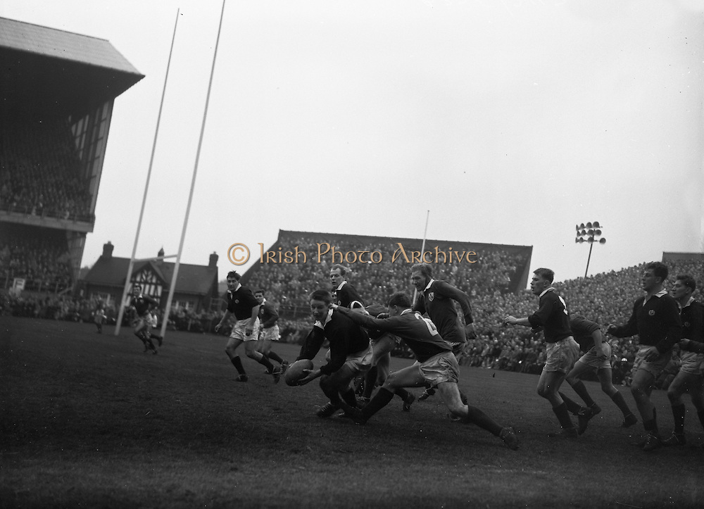 Irish Rugby Football Union, Ireland v Scotland, Five Nations, Landsdowne Road, Dublin, Ireland, Saturday 27th February, 1960,.27.2.1960, 2.27.1960,..Referee- D G Walters, Welsh Rugby Union, ..Score- Ireland 5 - 6 Scotland, ..Irish Team, ..T J Kiernan,  Wearing number 15 Irish jersey, Full Back, University college Cork Football Club, Cork, Ireland,..W W Bornemann, Wearing number 14 Irish jersey, Right Wing, Wanderers Rugby Football Club, Dublin, Ireland, ..J C Walsh,  Wearing number 13 Irish jersey, Right Centre, University college Cork Football Club, Cork, Ireland,..D Hewitt, Wearing number 12 Irish jersey, Left centre, Queens University Rugby Football Club, Belfast, Northern Ireland,..A C Pedlow, Wearing number 11 Irish jersey, Left wing,  C I Y M S Rugby Football Club, Belfast, Northern Ireland, ..M A English, Wearing number 10 Irish jersey, Outside Half, Bohemians Rugby Football Club, Limerick, Ireland,..A A Mulligan, Wearing number 9 Irish jersey, Captain of the Irish team, Scrum Half, London Irish Rugby Football Club, Surrey, England, ..B G Wood, Wearing number 1 Irish jersey, Forward, Landsdowne Rugby Football Club, Dublin, Ireland, ..B McCallan, Wearing number 2 Irish jersey, Forward, Ballymena Rugby Football Club, Antrim, Northern Ireland,..S Millar, Wearing number 3 Irish jersey, Forward, Ballymena Rugby Football Club, Antrim, Northern Ireland,..W A Mulcahy, Wearing number 4 Irish jersey, Forward, University College Dublin Rugby Football Club, Dublin, Ireland, ..M G Culliton, Wearing number 5 Irish jersey, Forward, Wanderers Rugby Football Club, Dublin, Ireland, ..N Murphy, Wearing number 6 Irish jersey, Forward, Cork Constitution Rugby Football Club, Cork, Ireland,..T McGrath, Wearing number 7 Irish jersey, Forward, Garryowen Rugby Football Club, Limerick, Ireland, ..J R Kavanagh, Wearing number 8 Irish jersey, Forward, Wanderers Rugby Football Club, Dublin, Ireland, ..Scottish Team, ..K L F Scotland, Wearing number 1 Scottish jersey,  Full Back, Cambridge