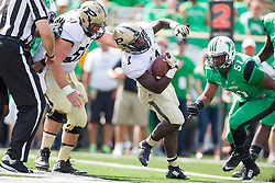 Sep 6, 2015; Huntington, WV, USA; Purdue Boilermakers running back D.J. Knox runs for a touchdown during the first quarter at Joan C. Edwards Stadium. Mandatory Credit: Ben Queen-USA TODAY Sports