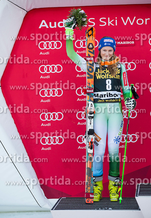 Second placed Ana Drev (SLO) celebrates at victory ceremony after the 7th Ladies' Giant slalom at 52nd Golden Fox - Maribor of Audi FIS Ski World Cup 2015/16, on January 30, 2016 in Pohorje, Maribor, Slovenia. Photo by Vid Ponikvar / Sportida