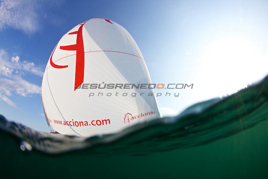 Imoca 60 ACCIONA.Sailing test in Brest, France