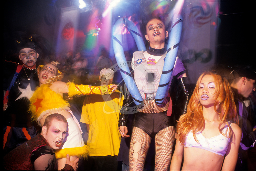 Club Kids party hard at the Love Festival rave at the Palace in Hollywood.