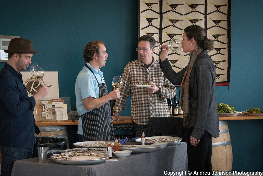 Ethan and Tobias of EaT: An Oyster Bar with Scott & Annie Shull at Raptor Ridge Grüner Veltliner and oyster pairing club event, Chehalem Mountains AVA, Willamette Valley, Oregon