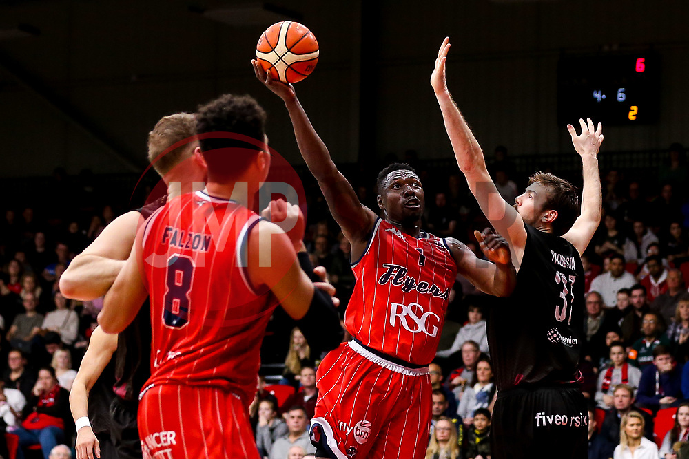 Daniel Edozie of Bristol Flyers shoots - Photo mandatory by-line: Robbie Stephenson/JMP - 11/01/2019 - BASKETBALL - Leicester Sports Arena - Leicester, England - Leicester Riders v Bristol Flyers - British Basketball League Championship