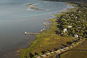 Aerial view of Charleston harbor Charleston, SC.