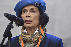 November 12, 2016 - Manchester, England, United Kingdom - Bianca Jagger, environmental campaigner and Chief Executive of the Bianca Jagger Human Right's Foundation, speaks at a protest rally against hydraulic fracturing, also known as 'fracking', on November 12, 2016 in Manchester, England. Hydraulic Fracturing is expected to take place in various locations around England, whilst the Northern Irish, Scottish and Welsh Governments has introduced moratoriums on the gas extraction method. Although fracking is a controversial form of energy extraction, due to environmental concerns, fracking is supposed to provide cheaper and more secure energy for the United Kingdom's domestic energy market. (Credit Image: © Jonathan Nicholson/NurPhoto via ZUMA Press)