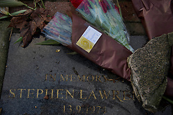 Flowers at the Stephen Lawrence Memorial in Eltham , South East London after the Guilty verdict Tuesday, 3rd January 2012. Photo by: i-Images