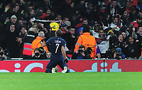 Football - 2016 / 2017 UEFA Champions League - Group A: Arsenal vs. Paris Saint-Germain<br /> <br /> Lucas of PSG  celebrates is goal with his fans at The Emirates.<br /> <br /> COLORSPORT/ANDREW COWIE