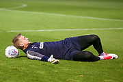AFC Wimbledon goalkeeper George Long (1), on loan from Sheffield United, warming up  during the EFL Sky Bet League 1 match between Southend United and AFC Wimbledon at Roots Hall, Southend, England on 26 September 2017. Photo by Simon Davies.