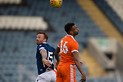 9th July 2019, Dens Park, Dundee, Scotland; Pre-season football friendly, Dundee versus Blackpool; Craig Curran of Dundee competes in the air with Curtis Tilt of Blackpool