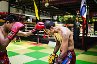 A Muay Thai trainer works with a young student at Sor Dechapant Gym in Bangkok, Thailand. In recent years, combat sports--especially Muay Thai--have been seen as a crucial elements in successful Mixed Martial Arts fighting.