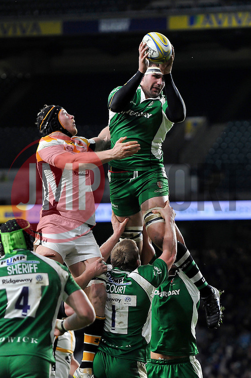Matt Symons of London Irish wins the ball at a lineout - Mandatory byline: Patrick Khachfe/JMP - 07966 386802 - 28/11/2015 - RUGBY UNION - Twickenham Stadium - London, England - London Irish v Wasps - Aviva Premiership.