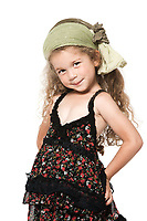 caucasian little girl smiling  seductress sly isolated studio on white background