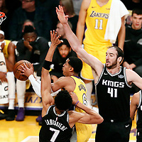 09 January 2018: Los Angeles Lakers guard Jordan Clarkson (6) goes for the layup past Sacramento Kings center Kosta Koufos (41) and Sacramento Kings forward Skal Labissiere (7) during the LA Lakers 99-86 victory over the Sacramento Kings, at the Staples Center, Los Angeles, California, USA.