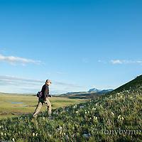 ear mountain, woman walking up anelope butte