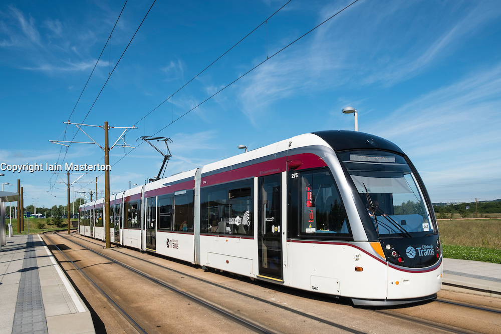 Modern tram in Edinburgh Scotland united Kingdom