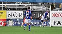 Fotball Menn Eliteserien Ranheim-Rosenborg<br /> Extra Arena, Ranheim<br /> 4 juli 2019<br /> <br /> Ranheims Magnus Blakstad (6) hjelper Rosenborgs Vegar Eggen Hedenstad med å score selvmål og Ranheim utligner til 1-1<br /> <br /> <br /> Foto : Arve Johnsen, Digitalsport