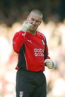 30/10/2004<br />FA Barclays Premiership - Fulham v Tottenham Hotspur - Craven Cottage, London<br />Fulham's stand in goalkeeper Mark Crossley celebrates a goal<br />Photo:Jed Leicester/Back Page Images