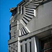 Profile of Art Deco Eagle on side of Federal Building in lower Manhattan, the symbol of United States of America.