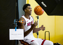 September 25, 2017 - Miami, Florida, U.S. - Miami Heat center Hassan Whiteside (21) at Media Day at AmericanAirlines Arena in Miami, Florida on September 25, 2017. (Credit Image: © Allen Eyestone/The Palm Beach Post via ZUMA Wire)