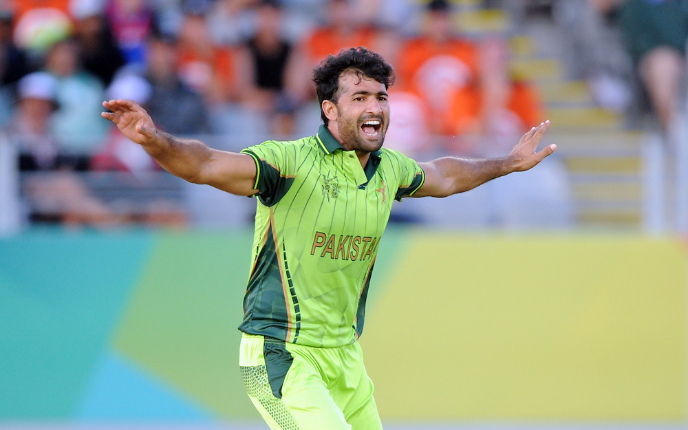 Pakistan's Sohail Khan appeals against  South African wicket  in the ICC Cricket World Cup at Eden Park, Auckland, New Zealand, Saturday, March 07, 2015. Credit:SNPA / Ross Setford
