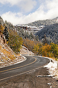 An early season snow fall brings winter driving conditions to the mountains of Utah. Missoula Photographer
