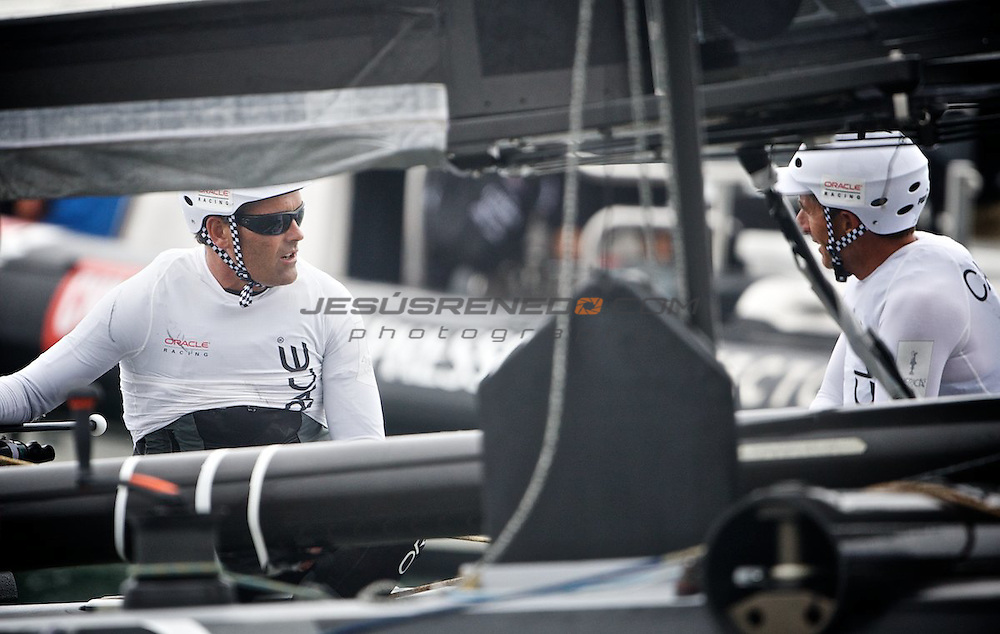 AC World Series,Cascais,Portugal.First day of racing, fleet race.Oracle Racing skipper Russell Coutts.