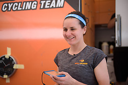 Megan Guarnier prepares for Stage 5 of the Giro Rosa - a 12.7 km individual time trial, starting and finishing in Sant'Elpido A Mare on July 4, 2017, in Fermo, Italy. (Photo by Sean Robinson/Velofocus.com)