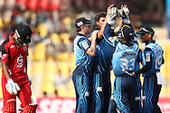 Marchant de Lange of the Titans is congratulated for getting Lendl Simmons of Trinidad &amp; Tobago wicket during match 16 of the Karbonn Smart Champions League T20 (CLT20) 2013  between The Titans and Trinidad and Tobago held at the Sardar Patel Stadium, Ahmedabad on the 30th September 2013<br /> <br /> Photo by Shaun Roy-CLT20-SPORTZPICS  <br /> <br /> Use of this image is subject to the terms and conditions as outlined by the CLT20. These terms can be found by following this link:<br /> <br /> http://sportzpics.photoshelter.com/image/I0000NmDchxxGVv4