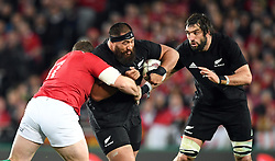 Charlie Faumuina of New Zealand, centre, with support from Sam Whitelock of New Zealand against Jack McGrath of the Lions in the third International rugby test match between the the New Zealand All Blacks and British and Irish Lions at Eden Park, Auckland, New Zealand, Saturday, July 08, 2017. Credit:SNPA / Ross Setford  **NO ARCHIVING""