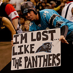 2009 October 18: A fan holds a sign in the stands during a 48-27 win by the New Orleans Saints over the New York Giants at the Louisiana Superdome in New Orleans, Louisiana.