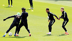 Wilfried Bony of Manchester City tackles Eliaquim Mangala with Raheem Sterling and Kevin de Bruyne - Mandatory byline: Matt McNulty/JMP - 25/04/2016 - FOOTBALL - City Football Academy - Manchester, England - Manchester City v Real Madrid - UEFA Champions League Training Session