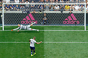 Tottenham Hotspur defender Toby Alderweireld (4) scores his penalty, penalty shootout, during the Pre-Season Friendly match between Tottenham Hotspur and Inter Milan at Tottenham Hotspur Stadium, London, United Kingdom on 4 August 2019.