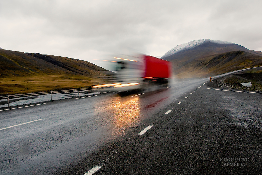 Truck at a northern Iceland road